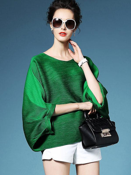 Chic Batwing Sleeve Loose Ruffled Blouses