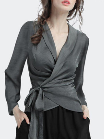 Work Slim Gathered Waist Lacing V-Neck Grey Blouses