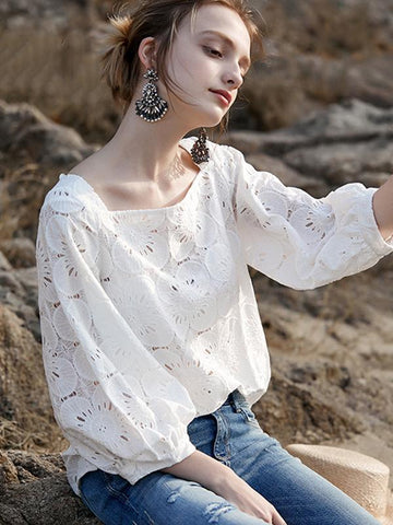 Sweet Boat Neck Puff Sleeve Lace Hollow Out Blouses