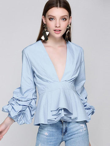 Stylish Ruffled Falbala Puff Sleeve Deep V-Neck Blouses