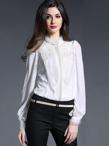 Beaded Stand Collar Ruffled White Slim Work Blouses