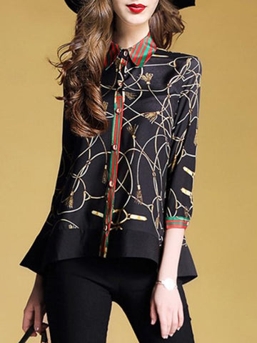 Exquisite Stitching Turn-Down Collar Single Breasted Blouses