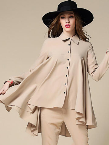 Irregular Turn-Down Collar Button Chic Blouses