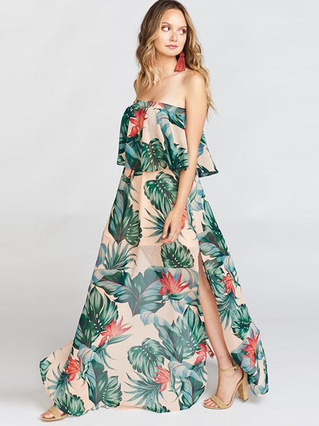 Holiday Plant Print Slit Off-The-Shoulder Maxi Dress