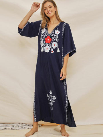 Loose Embroidery Ethnic Stitching Shift Dress