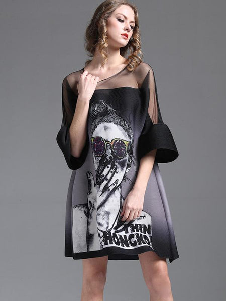 Flare Sleeve Loose Print Perspective Ruffled Shift Dress