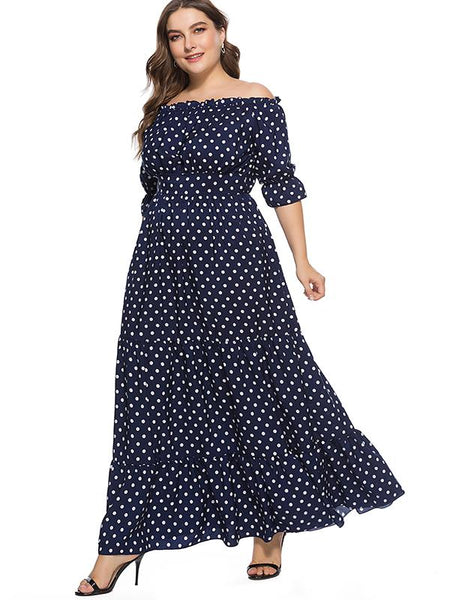 Oversize Polka Dot Ruffled Boat Neck Big Hem Dress