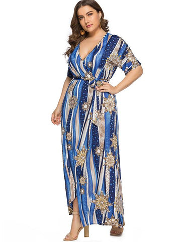 Oversize Slit Lace-Up Print Beach Dress
