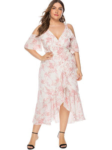 Oversize Lotus Leaf Print Off-The-Shoulder Dress