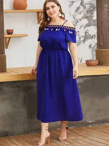 Oversize Tassels Boat Neck Slip Folk Skater Dress