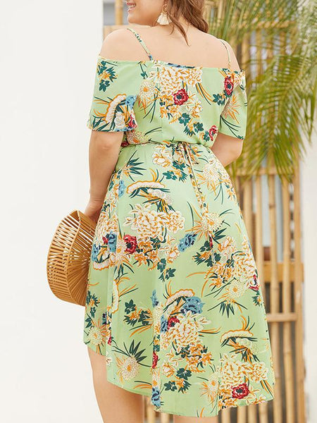 Oversize Low Neck Print Asymmetric Backless Slip Dress