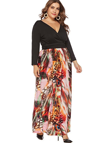 Oversize Patchwork Print Deep V-Neck Maxi Dress