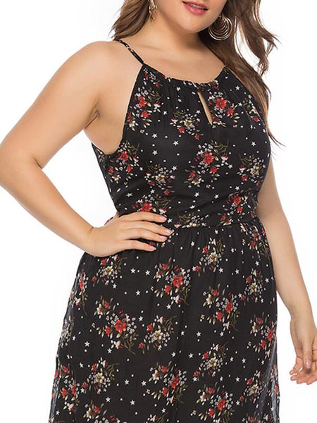 Oversize Strapless Print Lace-Up Summer Halter Dress