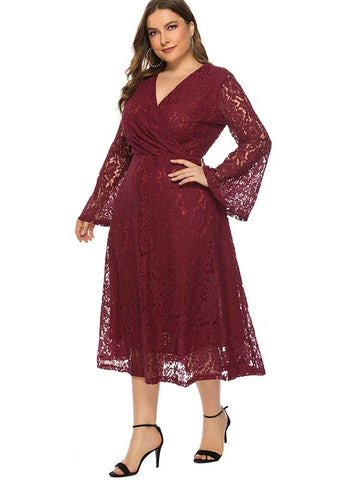 Oversize Flare Sleeve Hollow Out Lace Skater Dress