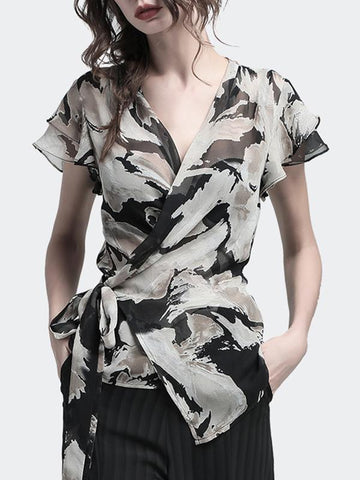 Chiffon Lacing V-Neck Lotus Leaf Print Blouse