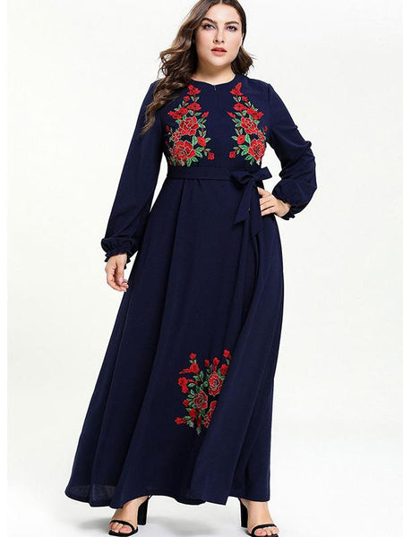 Oversize Tatting Embroidery Lace-Up Long Dress