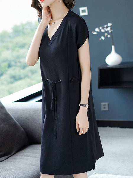 Knit Lace-Up Loose Patchwork Shift Dress