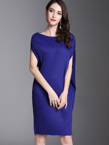 Solid Color Ruffles Asymmetric Brief Shift Dress