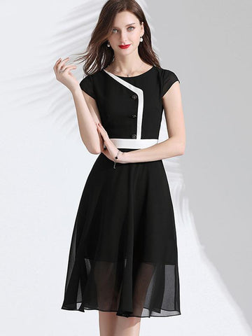 Perspective Hit-Color Button Skater Dress