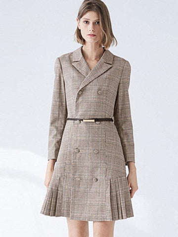 Coffee Plaid Lapel Collar Belt Patchwork A-Line Dress