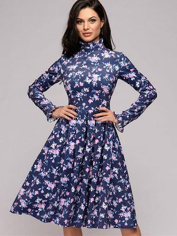Ruffled Collar Long Sleeve Print Skater Dress (Without Belt)