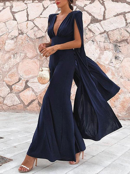 Deep V-Neck Backless Sexy Ruffles Jumpsuit