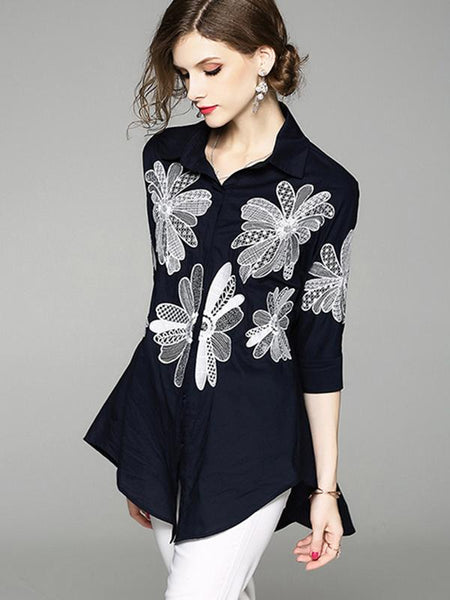 Dolman Sleeve Embroidery Turn-Down Collar Blouse