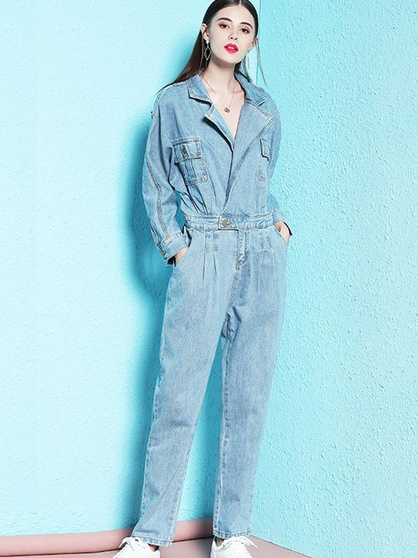 Street Denim Pocket Turn-Down Collar Straight Jumpsuit