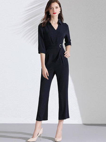 Work V-Neck Sashes Gathered Waist Jumpsuit