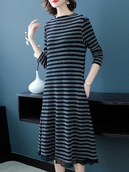 Long Sleeve Stripe O-Neck Patchwork Sweater Dress