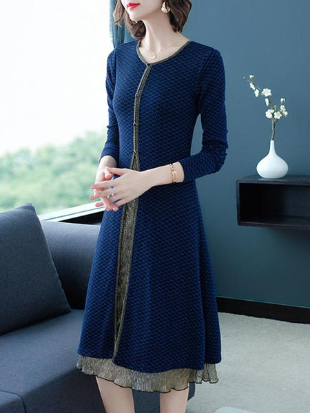 Patchwork Loose Button Casual Sweater Dress