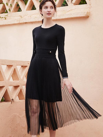 Knit Black Patchwork Perspective Sweater Dress