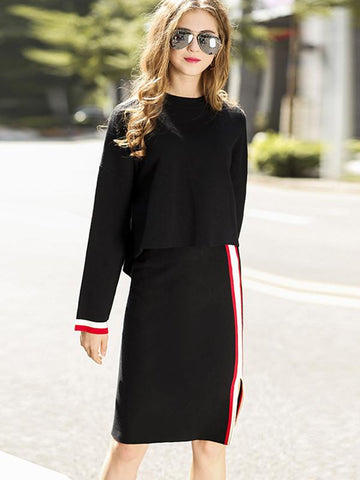 Asymmetric Slit Stitching Wool Two-Piece Sweater Dress