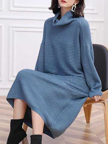 Half-Collar Long Sleeve Loose Knit Sweater Dress