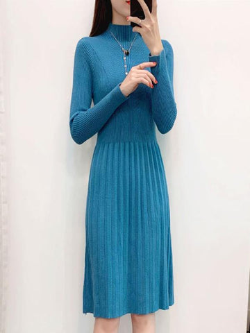Slim Long Sleeve Stand Collar Sweater Dress