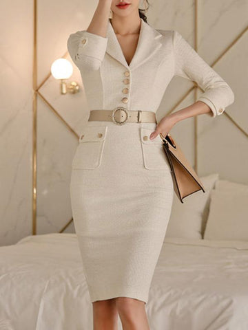 Lapel Collar Button High Waist Bodycon Dress (Without Belt)