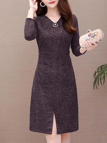 Slim Knit V-Neck Stitching Sweater Dress