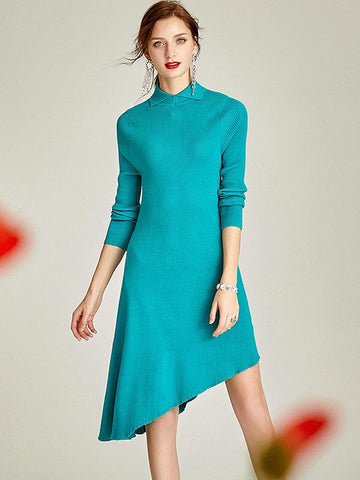 Fashion Irregular Solid Color Turn Down Collar Sweater Dress