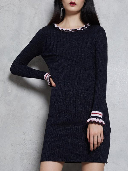 Ruffled Gathered Waist Long Sleeve Sweater Dress