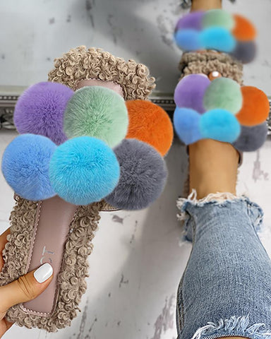 Colorful Venonat Design Fluffy Casual Flat Sandals
