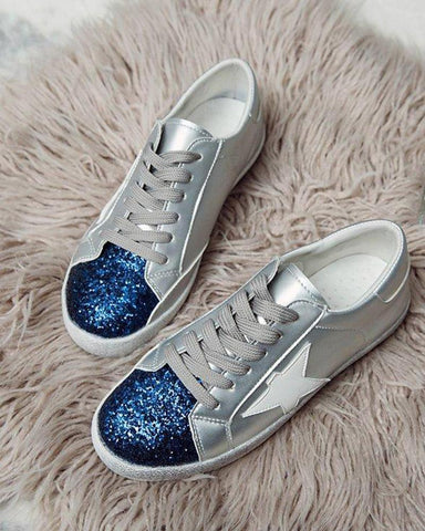 Sequined Lace-Up Sneakers
