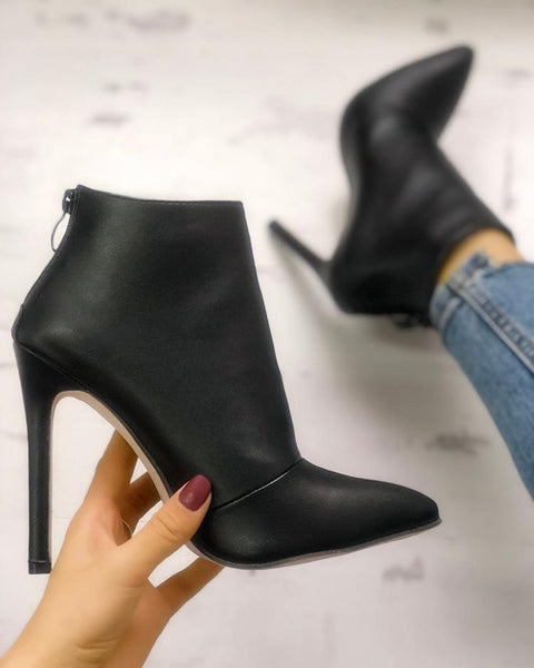 Solid Pointed Toe Zipper Back Ankle Boots