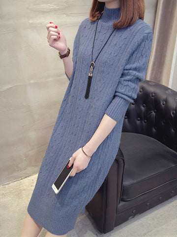 Half-high collar Winter Loose Thicken Long Knitted Sweaters And Pullover
