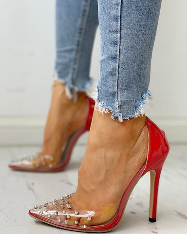 Rivet Pointed Toe Transparent Thin Heels