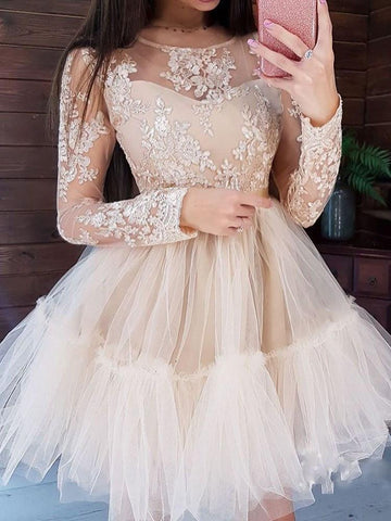 Above Knee Embroidery Long Sleeve Pullover Ball Gown Dress