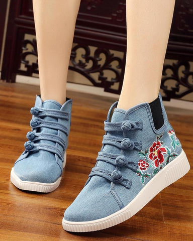 Embroidery Lace-Up Sneakers