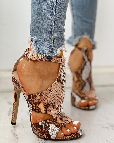 Snakeskin Peep Toe Ankle Strap Thin Heeled Sandals