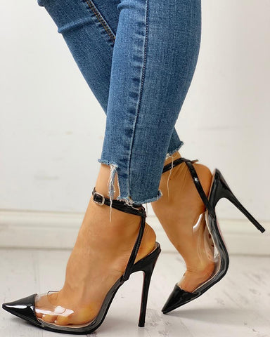 Pointed Toe Transparent Slingback Thin Heels