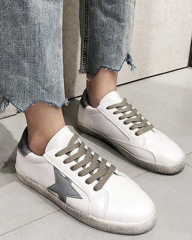 Star Lace-Up Casual Sneakers