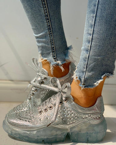 Glitter Eyelet Lace-Up Muffin Casual Sneakers